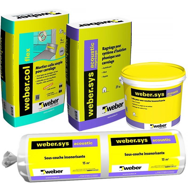 KIT WEBER.SYS ACOUSTIC 15M² + WEBERCOL FLEX GRIS