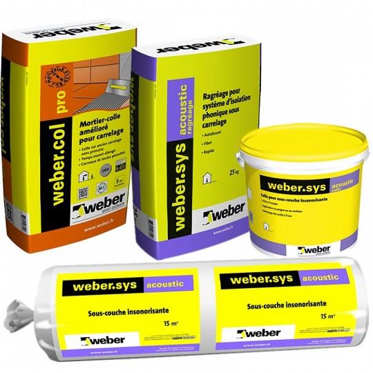 KIT WEBER.SYS ACOUSTIC 15M² + WEBERCOL PRO GRIS (Pour carreaux de 2200 à 3600 cm²)