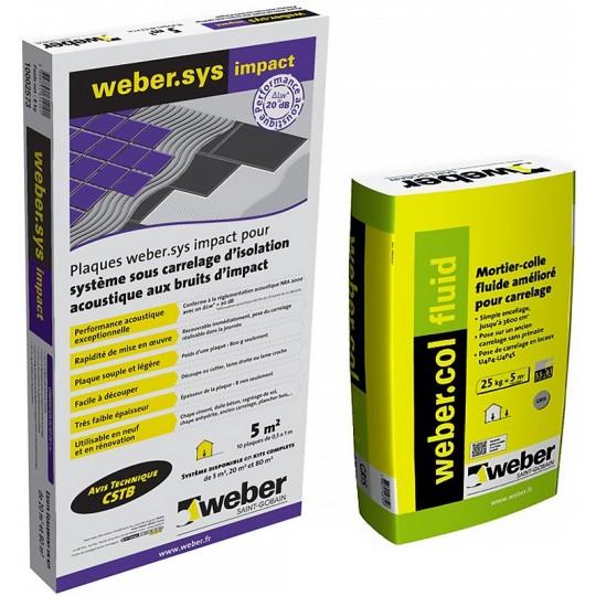 KIT WEBER.SYS IMPACT 20M² + WEBERCOL FLUID