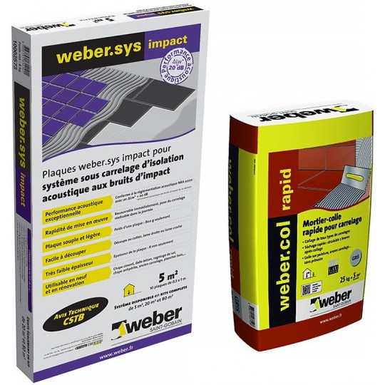 KIT WEBER.SYS IMPACT 20M² + WEBERCOL RAPID GRIS