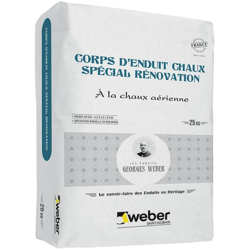 WEBER CORPS D'ENDUIT CHAUX SPÉCIAL RÉNOVATION 25KG (WEBER.MEP RÉNO BLANC)