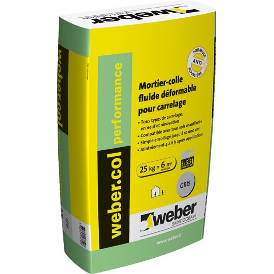 WEBERCOL PERFORMANCE - GRIS - 25KG (WEBER.COL PERFORMANCE)