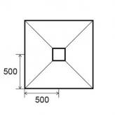 Sol Panodur carré - siphon de sol centré sortie verticale
